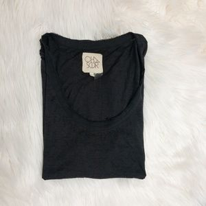 Chaser Black Distressed Muscle Tee
